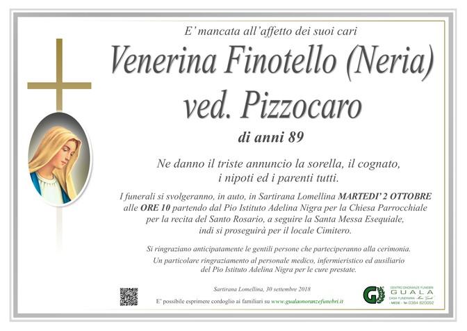 Necrologio di Venerina Finotello (Neria) ved. Pizzocaro