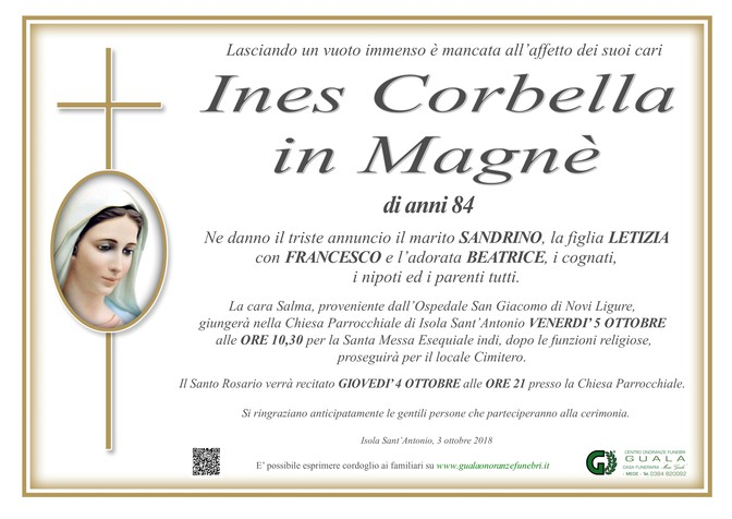 Necrologio di Ines Corbella in Magnè