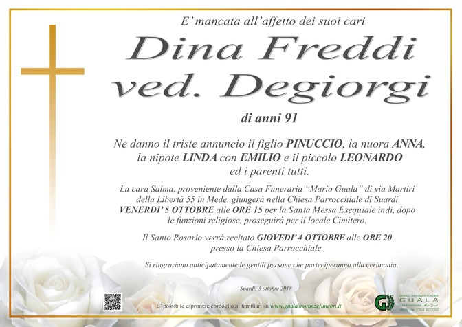 Necrologio di Dina Freddi ved. Degiorgi