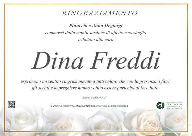 Ringraziamenti per Dina Freddi ved. Degiorgi