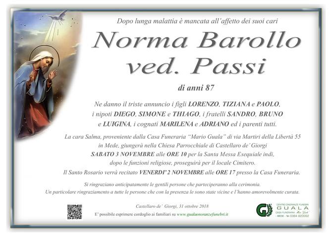 Necrologio di Norma Barollo ved. Passi