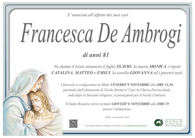 Necrologio di Francesca De Ambrogi