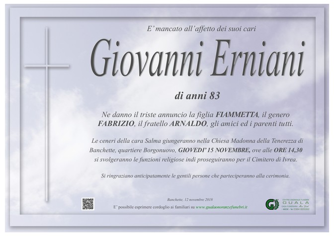 Necrologio di Giovanni Erniani
