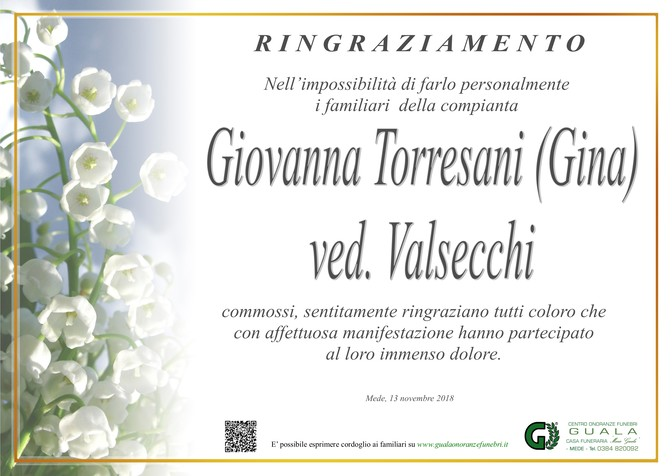 Ringraziamenti per Giovanna Torresani (Gina) ved. Valsecchi