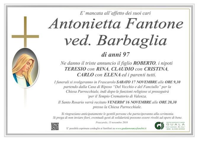 Necrologio di Antonietta Fantone ved. Barbaglia