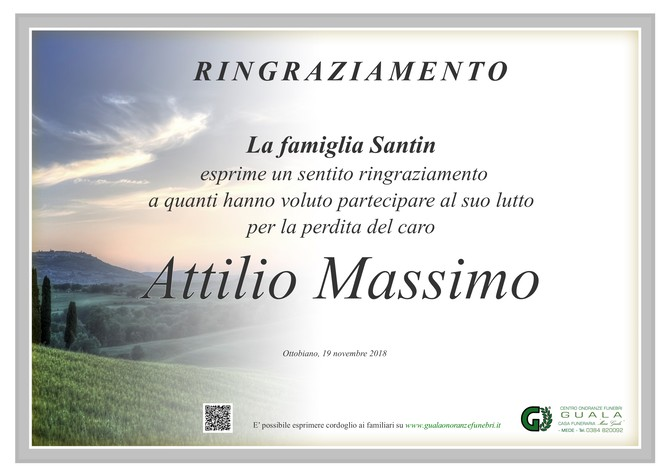 Ringraziamenti per Attilio Massimo Santin