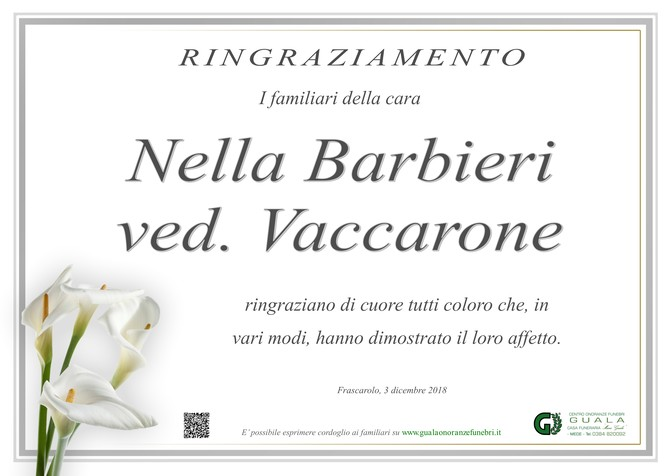 Ringraziamenti per Nella Barbieri ved. Vaccarone