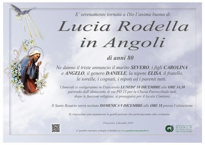 Necrologio di Lucia Rodella in Angoli