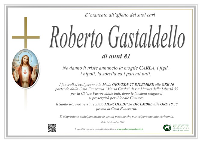 Necrologio di Roberto Gastaldello