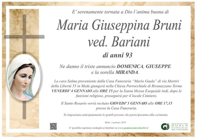 Necrologio di Maria Giuseppina Bruni ved. Bariani
