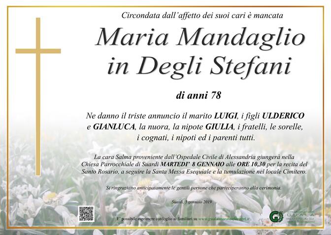 Necrologio di Maria Mandaglio in Degli Stefani