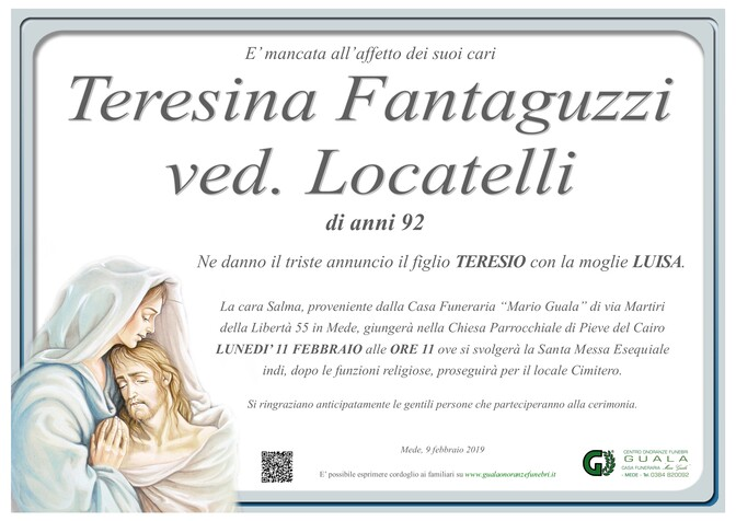 Necrologio di Teresina Fantaguzzi ved. Locatelli