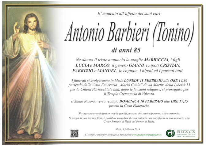 Necrologio di Antonio Barbieri (Tonino)