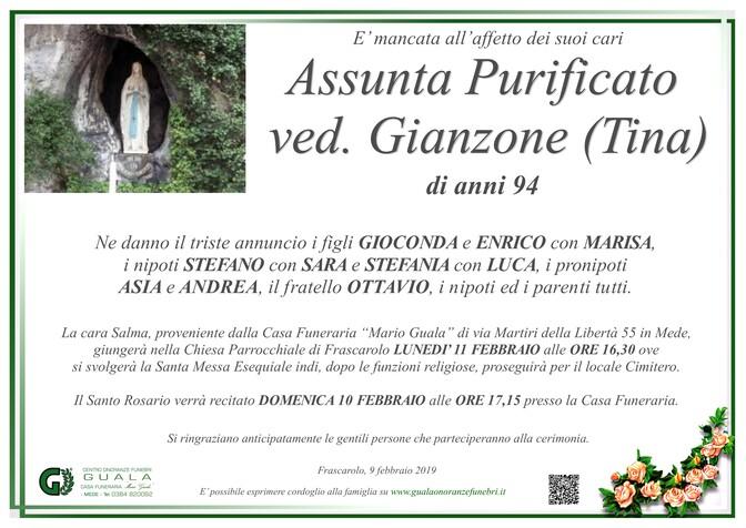 Necrologio di Assunta Purificato (Tina) ved. Gianzone