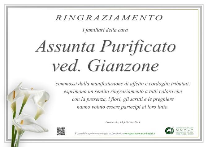 Ringraziamento per Assunta Purificato (Tina) ved. Gianzone