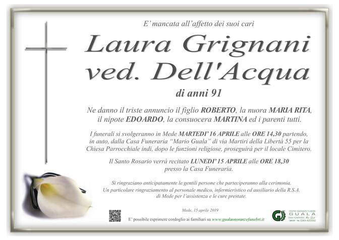 Necrologio di Laura Grignani ved. Dell'Acqua