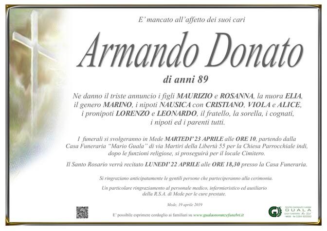 Necrologio di Armando Donato