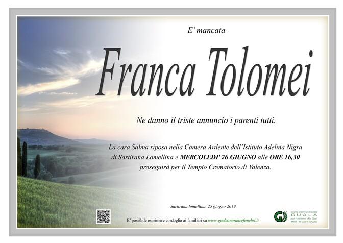 Necrologio di Franca Tolomei