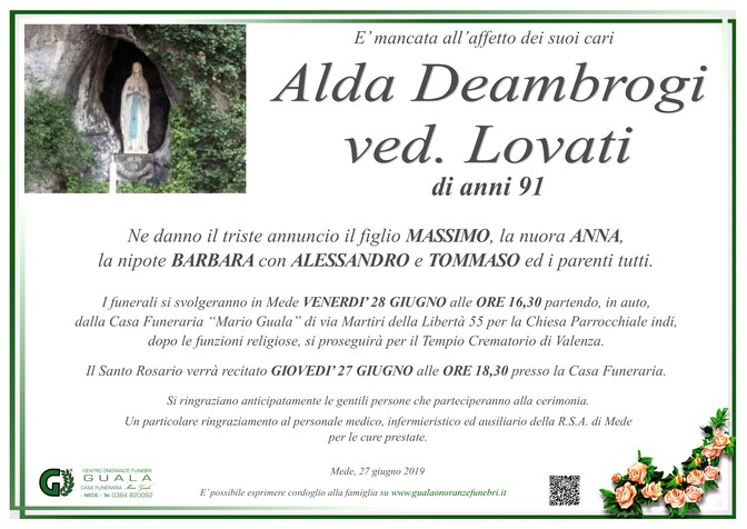 Necrologio di Alda Deambrogi ved. Lovati