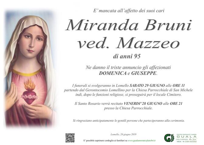 Necrologio di Miranda Bruni ved. Mazzeo