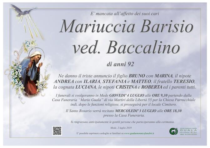 Necrologio di Mariuccia Barisio ved. Baccalino