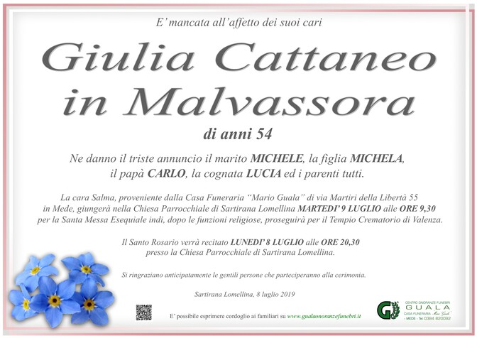 Necrologio di Giulia Cattaneo in Malvassora