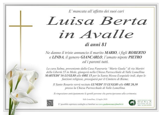 Necrologio di Luisa Berta in Avalle