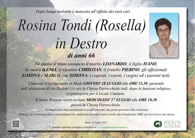 Necrologio di Rosina Tondi (Rosella) in Destro