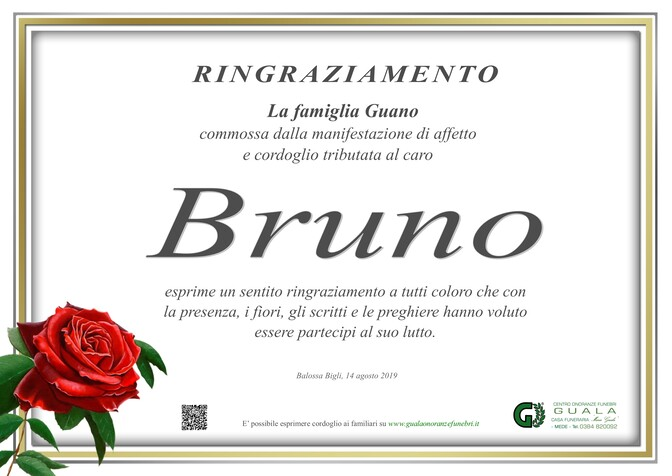 Ringraziamenti per Bruno Guano