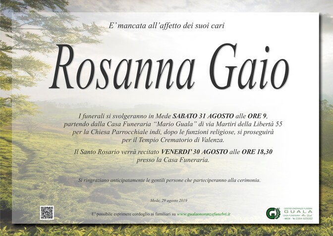 Necrologio di Rosanna Gaio