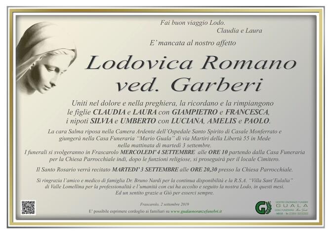 Necrologio di Lodovica Romano ved. Garberi