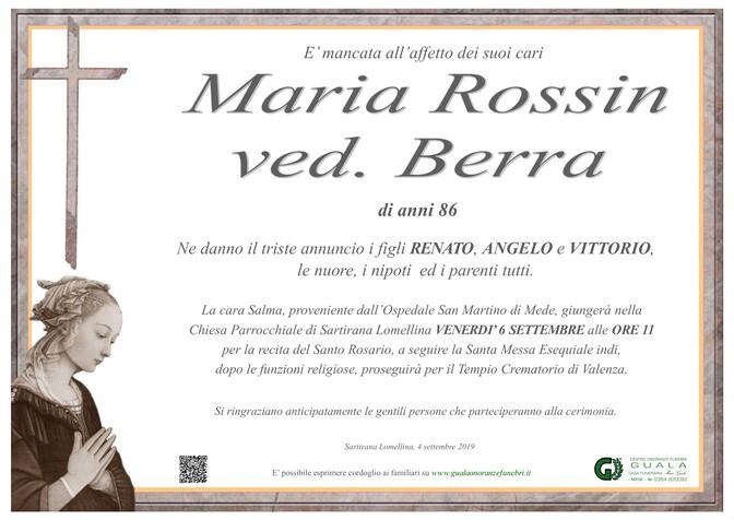 Necrologio di Maria Rossin ved. Berra