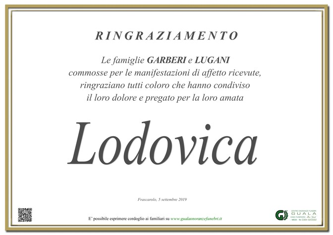 Ringraziamento per Lodovica Romano ved. Garberi