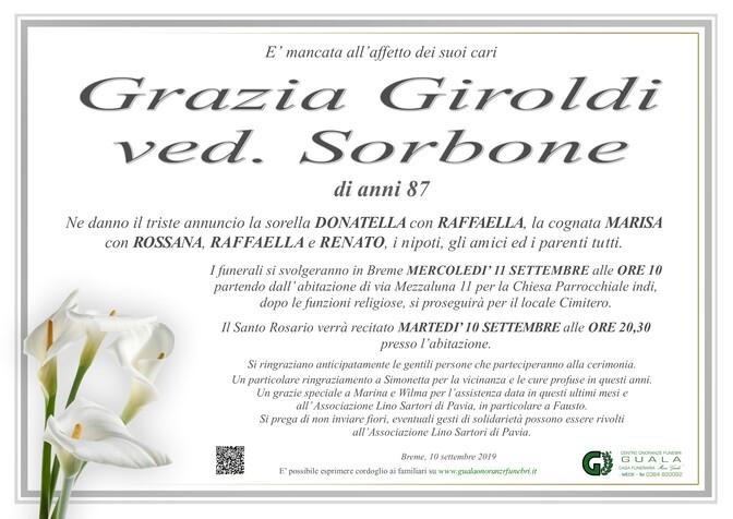 Necrologio di Grazia Giroldi ved. Sorbone