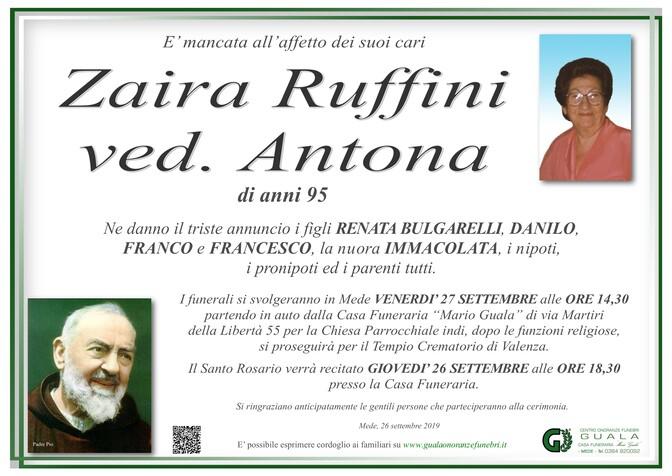 Necrologio di Zaira Ruffini ved. Antona