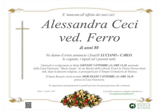 Necrologio di Alessandra Ceci ved. Ferro
