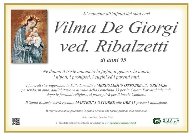 Necrologio di Vilma De Giorgi ved. Ribalzetti