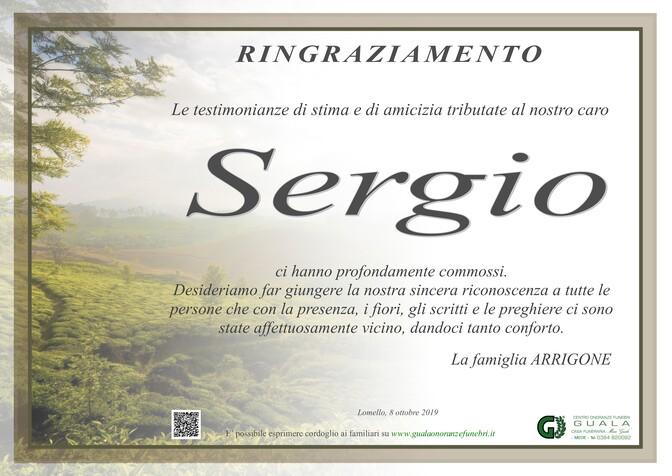 Ringraziamento per Sergio Arrigone
