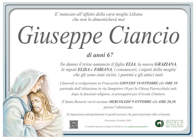 Necrologio di Giuseppe Ciancio