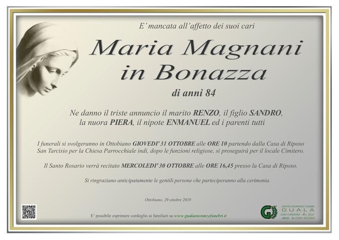 Necrologio di Maria Magnani in Bonazza