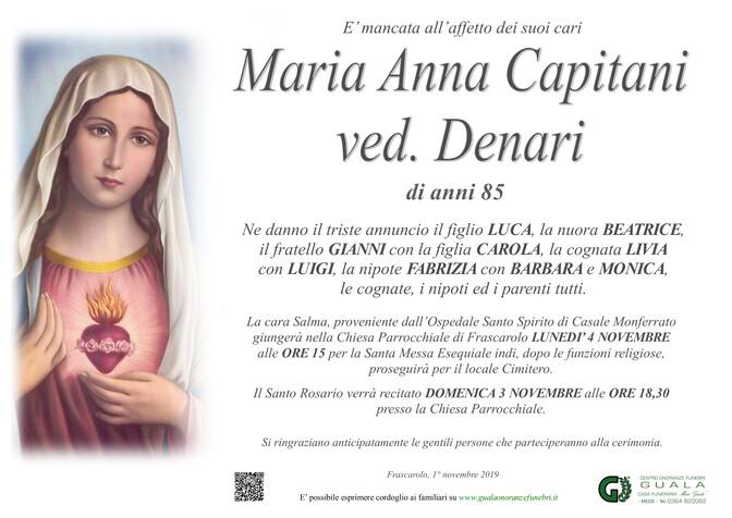 Necrologio di Maria Anna Capitani ved. Denari