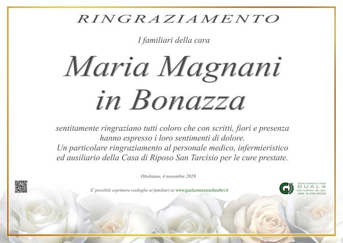 Ringraziamenti per Maria Magnani in Bonazza