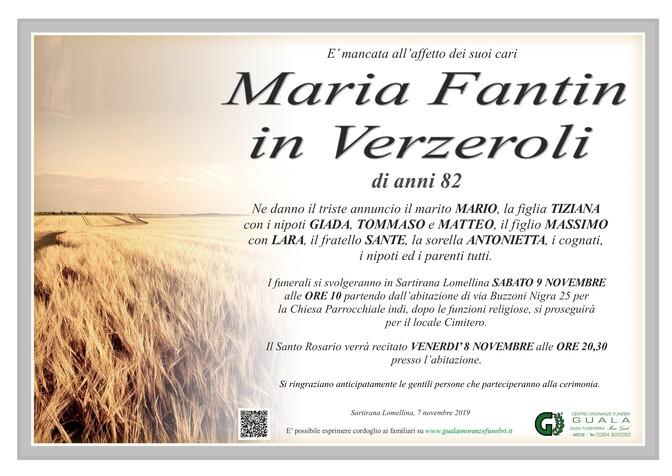Necrologio di Maria Fantin in Verzeroli