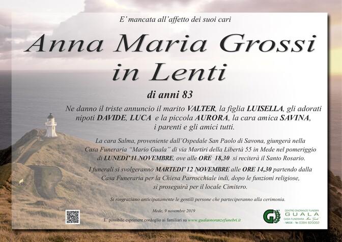 Necrologio di Anna Maria Grossi in Lenti