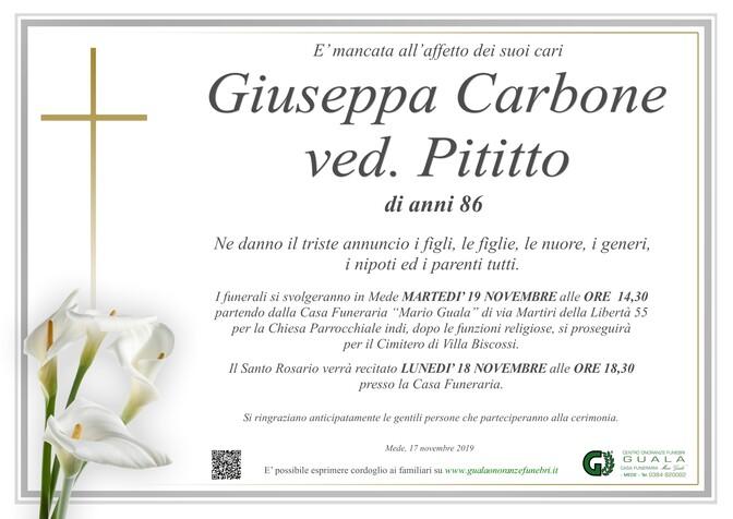 Necrologio di Giuseppa Carbone ved. Pititto