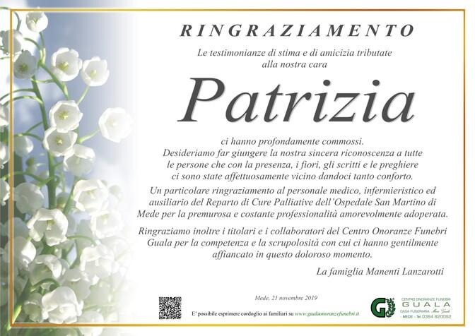 Ringraziamenti per Patrizia Lanzarotti in Manenti