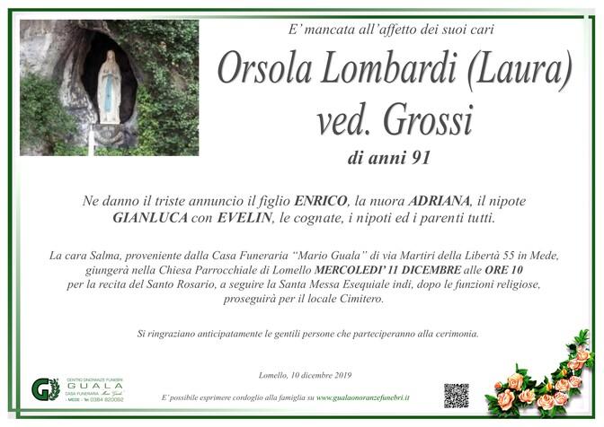 Necrologio di Orsola Lombardi (Laura) ved. Grossi
