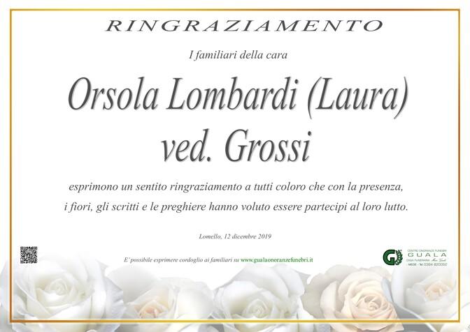 Ringraziamento per Orsola Lombardi (Laura) ved. Grossi