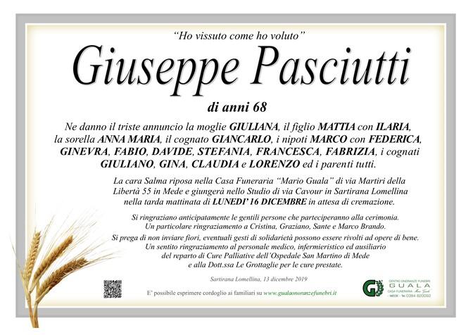 Necrologio di Giuseppe Pasciutti