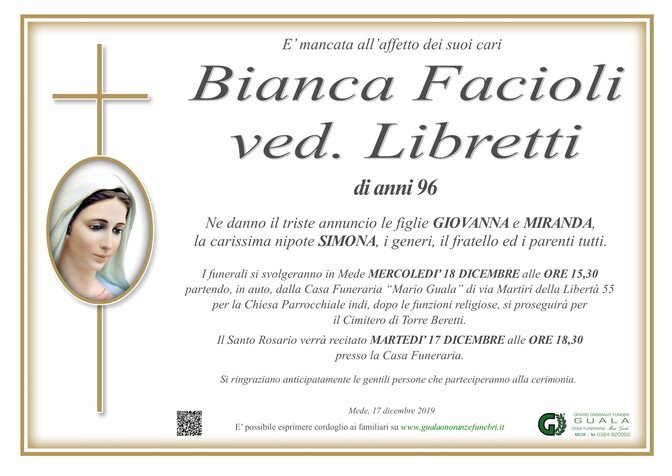 Necrologio di Bianca Facioli ved. Libretti